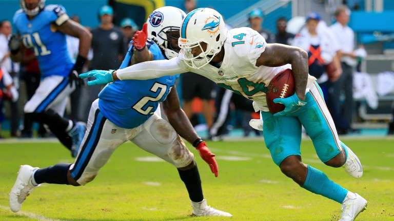 Miami's Jarvis Landry has scored a touchdown in six of his last seven matches