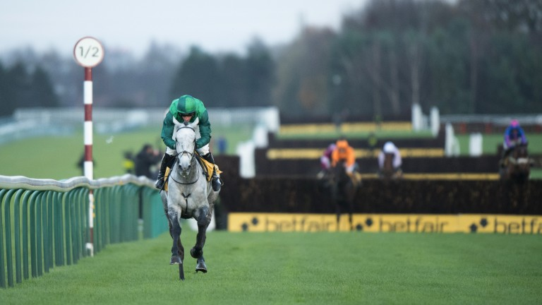 Sheer isolation: the Nigel Twiston-Davies-trained Bristol De Mai is clear of his rivals in the Grade 1 Betfair Chase