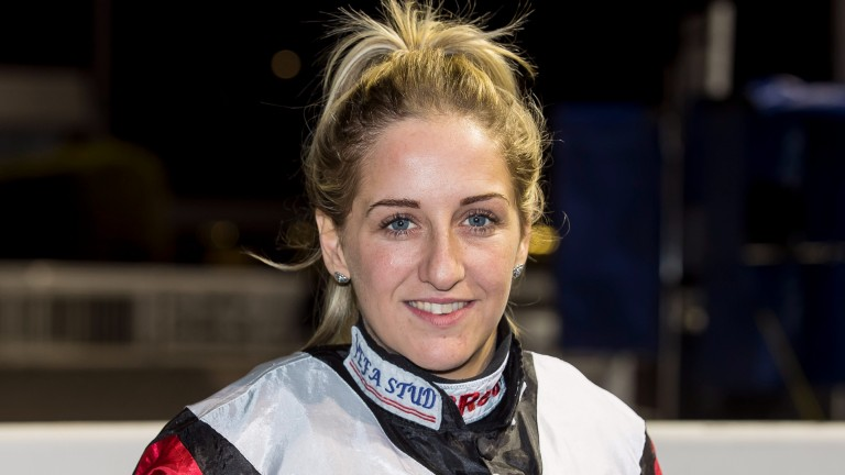 Josephine Gordon, pictured at Wolverhampton on Saturday, became only the second woman to ride 100 winners in a calendar year on the Flat in Britain