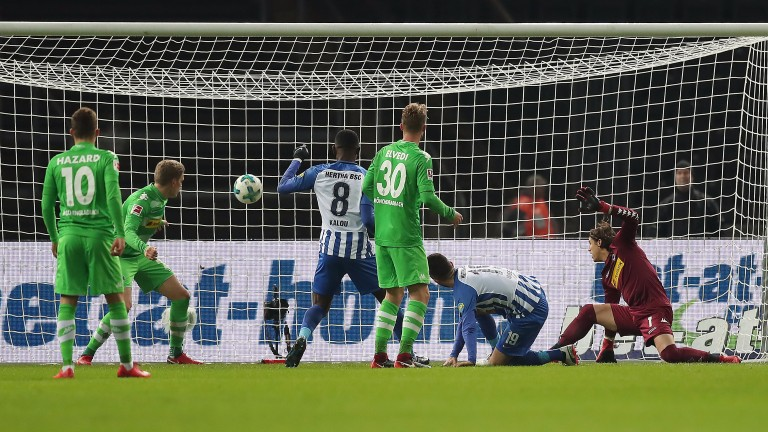 Vedad Ibisevica (second right) scores for Hertha against Gladbach