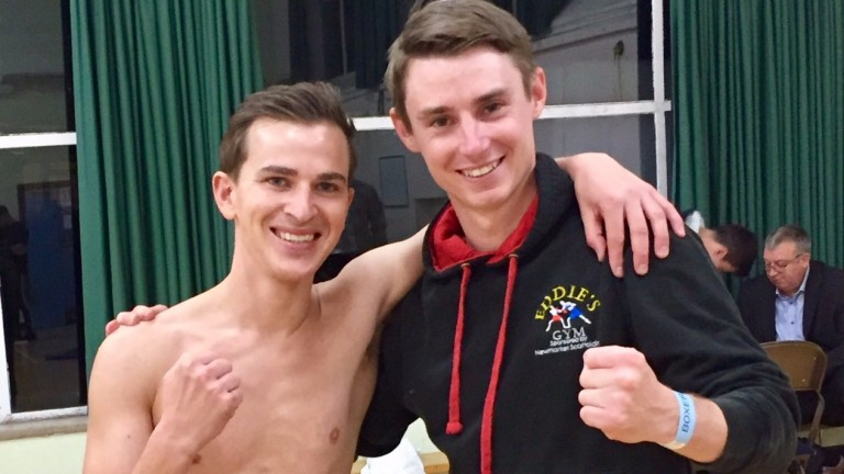 All smiles before the fight : Nicky Mackay and Simon Pearce
