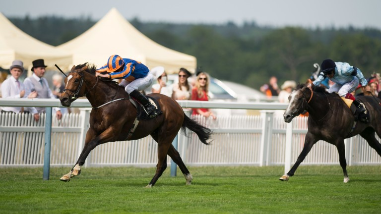 Gleneagles surges clear of the field in the 2015 St James's Palace Stakes at Royal Ascot