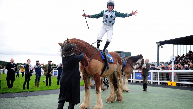 Bryony Frost makes a flying dismount after winning the Clydesdales race at Exeter