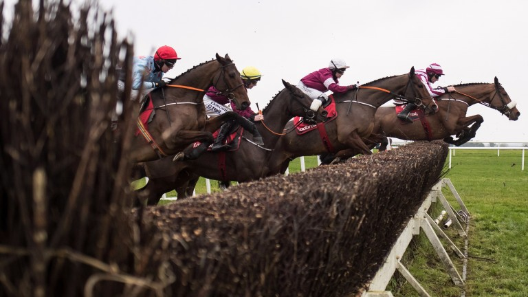 Mala Beach (right) clears a fence en route to victory in the Troytown Handicap Chase at Navan