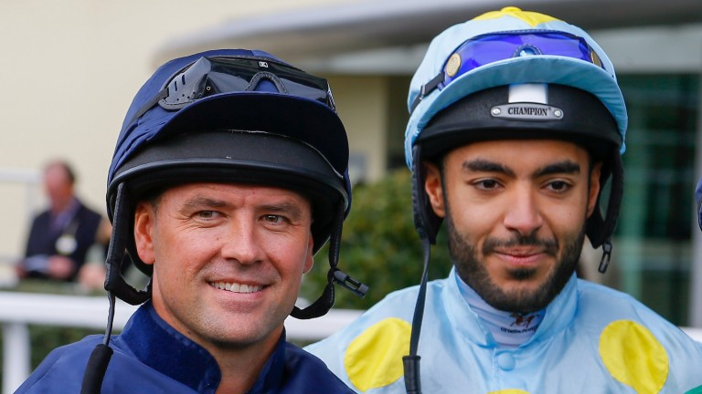 Michael Owen and Sheikh Fahad before their charity race at Ascot on Friday