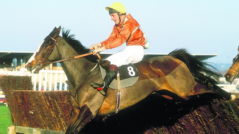 Paul Nicholls jumping the last on Playschool to win the 1987 Hennessy