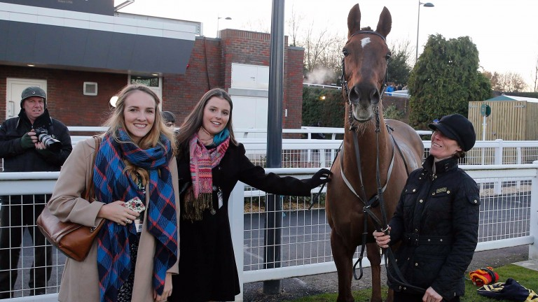 Mad Moose posing with his fans at Cheltenham after his final 'start' in December 2014