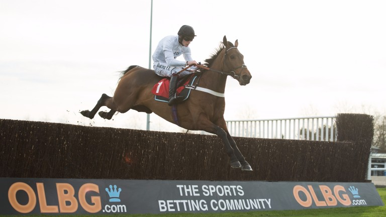 Brain Power and David Mullins fly the last fence to win the novice chase at Kempton on Monday