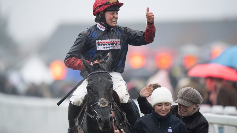 Bryony Frost in jubilant mood after victory at Cheltenham aboard Black Corton