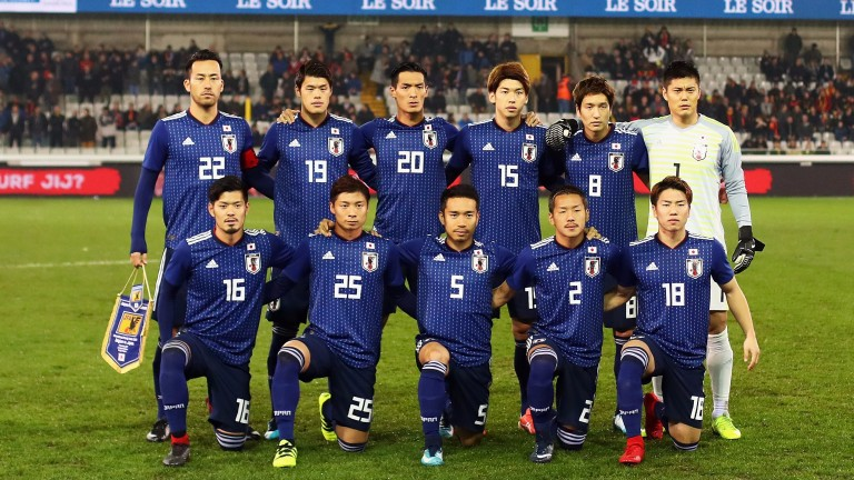 Japan line up for a friendly against Belgium