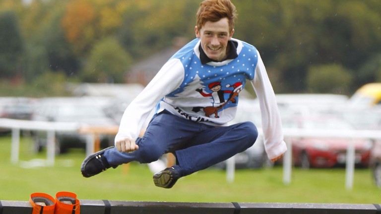Sam Twiston-Davies in action wearing the Christmas jumper he designed
