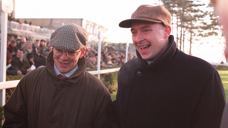 John Durkan (right) with Aidan O'Brien at Fairyhouse after Istabraq had won the Hatton's Grace Hurdle in November 1997