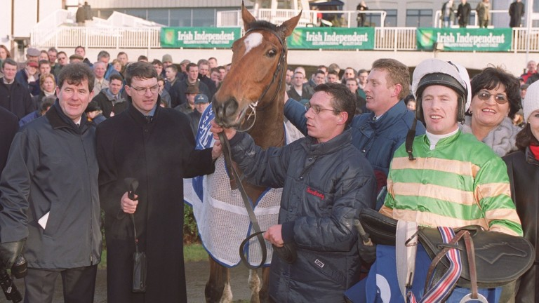 Winning connections (from left: JP McManus, Aidan O'Brien, Davy Clifford, Pat Keating, Charlie Swan and Noreen McManus) after Istabraq's Irish Champion Hurdle win in January 1998