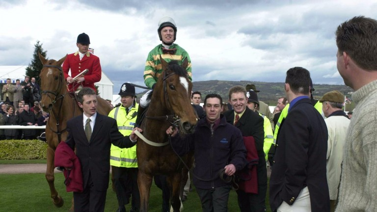Charlie Swan and Istabraq are led in after winning the Champion Hurdle at Cheltenham in 2000