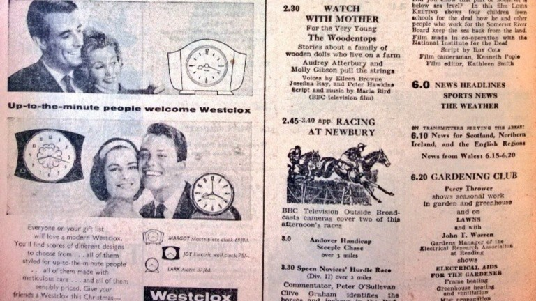 The Radio Times shows racing from Newbury followed Watch With Mother on this corresponding Friday in 1958: source, Graeme Wood