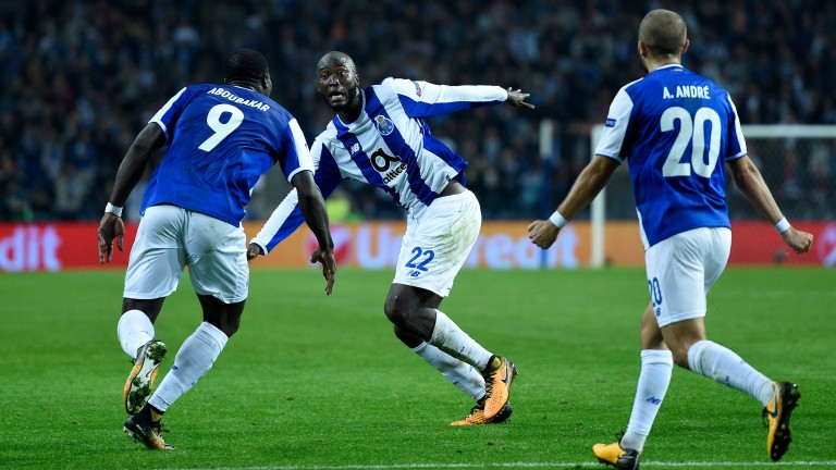 Porto players celebrate a goal against RB Leipzig in the Champions League