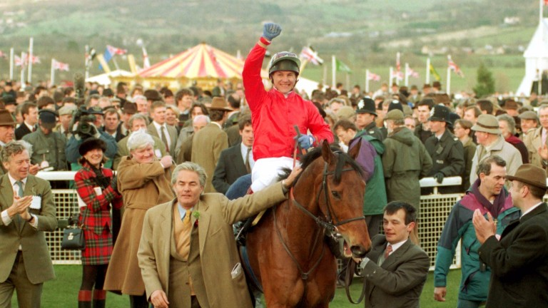 Francois Doumen leads in The Fellow and Adam Kondrat after their Cheltenham Gold Cup victory in 1994