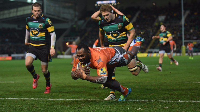 Niki Goneva scores the winning try for Newcastle at Northampton last season