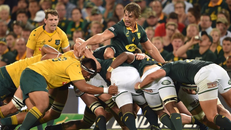 The powerful South Africa pack will be a key weapon
