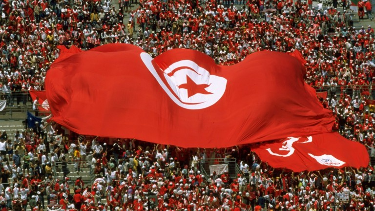 Tunisia fans unfurl a huge national flag