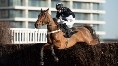 The winner Bigmartre (Harry Bannister) jumps the last fence in the 2m novice handicap chaseNewbury 1.12.17 Pic: Edward Whitaker