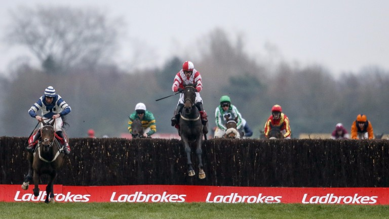 Whisper lands in front of Total Recall at the last in the Ladbrokes Trophy