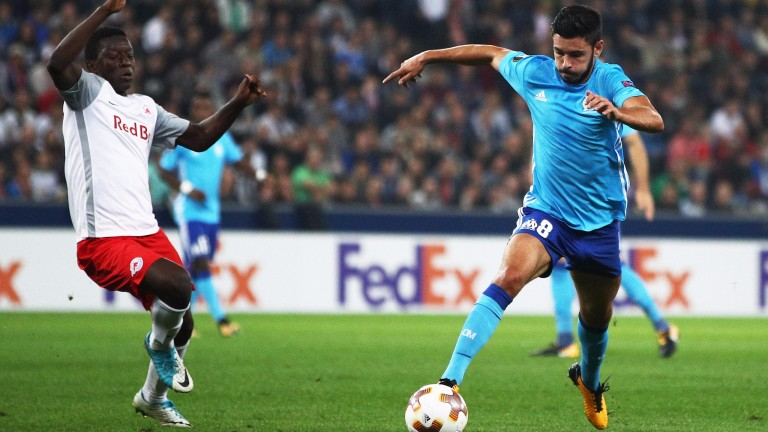 Morgan Sanson of Marseille (right) in Europa League action against RB Salzburg