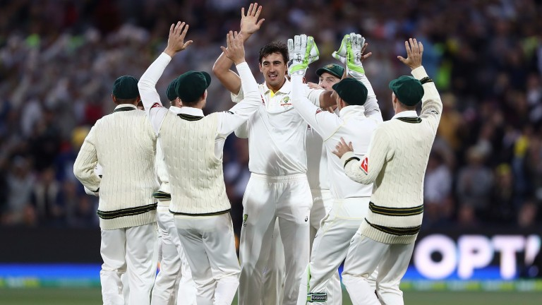 Australia and Mitchell Starc celebrate the wicket of Mark Stoneman