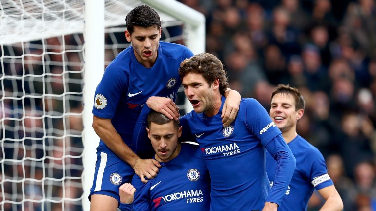 Chelsea celebrate after scoring against Newcastle