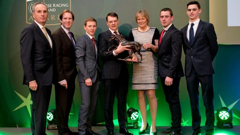 Aidan O'Brien (centre) alongside fellow HRI award winners (from left) James Nicholson, Mike Todd, Colin Keane, Jessica Harrington, Barry O'Neill and Donnacha O'Brien, who was accepting an award on behalf of his brother Joseph