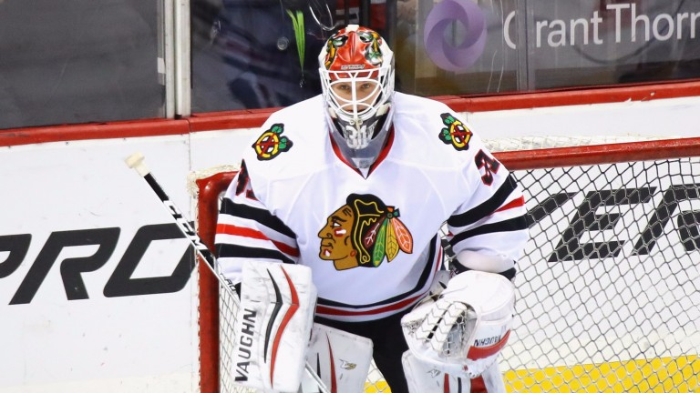 Lars Johansson (in action for Chicago Blackhawks) has been well protected by the CSKA defence