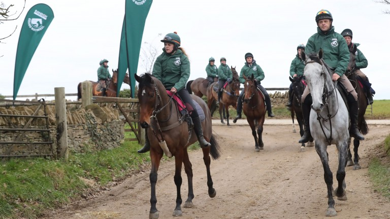 Blaklion (left), ridden his lass Fay Shulton, with Bristol De Mai and head lad Richard 'Sparky' Bevis