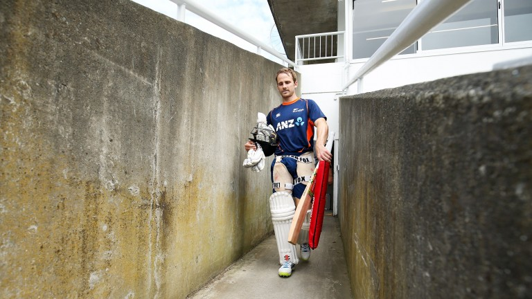 New Zealand captain Kane Williamson heads for some net practice