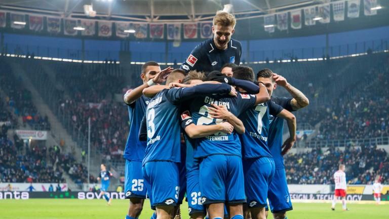 Hoffenheim celebrate their win over Leipzig last week