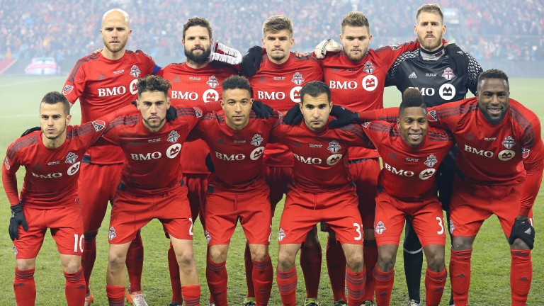 Toronto FC pose for a team photo before last year's MLS Cup final at BMO Field