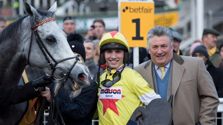 Politologue (Harry Cobden)  and Paul Nicholls after the Tingle CreekSandown 9.12.17 Pic: Edward Whitaker