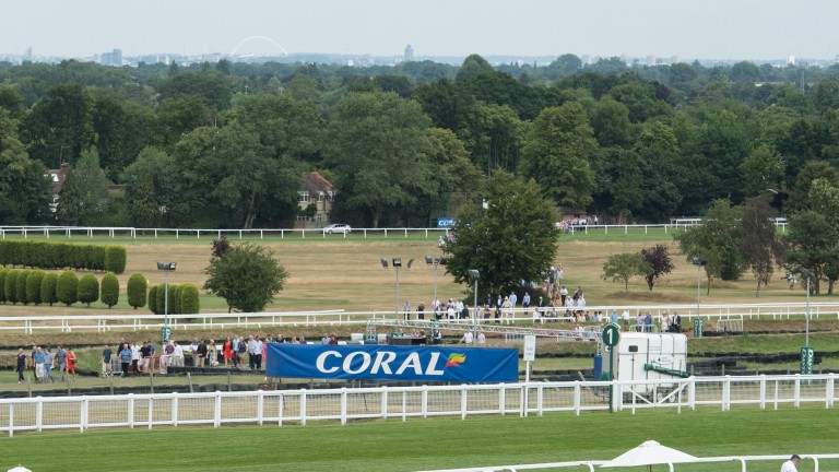 Racegoers make their way across the course to Esher railway station, a route closed before racing