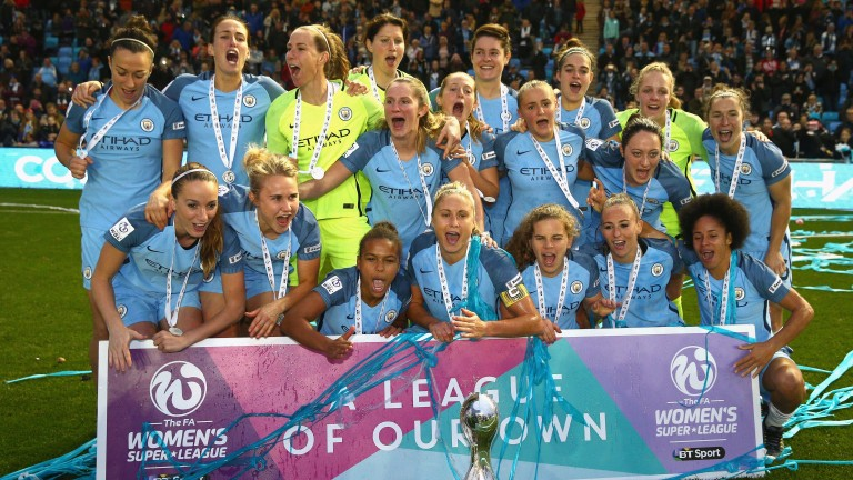 Manchester City celebrate winning the WSL in 2016