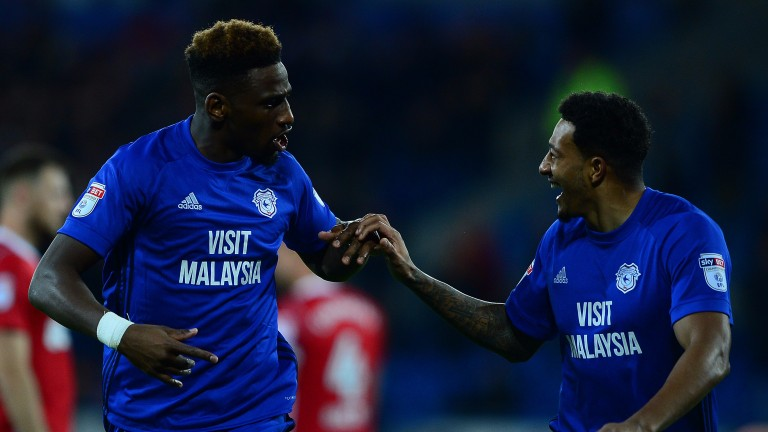 Cardiff's Omar Bogle (left) has netted in his last three outings
