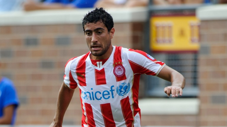 Maritimo's Gevorg Ghazaryan in action for former club Olympiakos