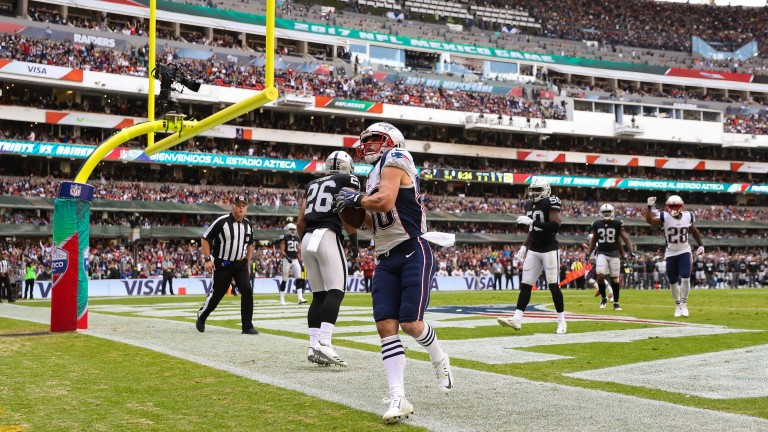 New England's Danny Amendola celebrates his touchdown against Oakland in Mexico City