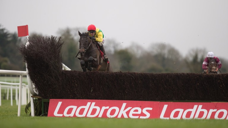 Sizing John in splendid isolation as he jumps the last in the John Durkan