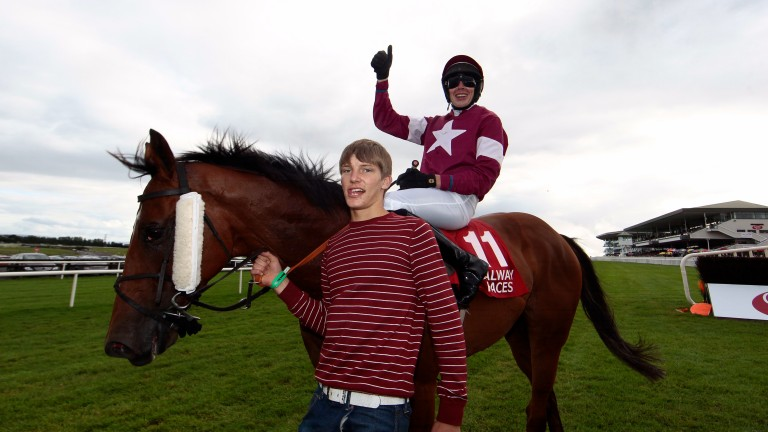 Steven Clements celebrates after winning the Connacht Hotel QR Handicap at the Galway Festival on Edeymi