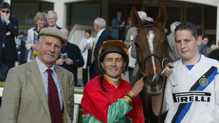 Ned Morrissey (left) after homebred Cailin's Perk won on the Flat at Leopardstown in 2003