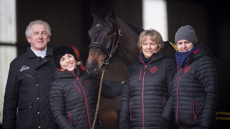 Pat Keogh (left) alongside the Harringtons and Sizing John at the launch of the Leopardstown Christmas Festival
