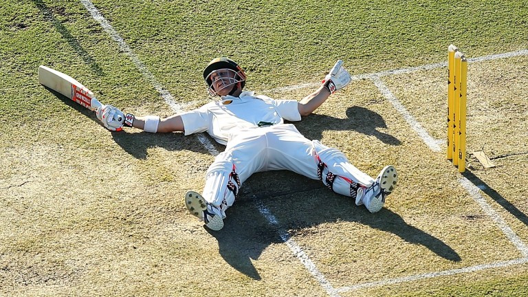 David Warner enjoys a breather on his way to 97 against South Africa in Perth last year