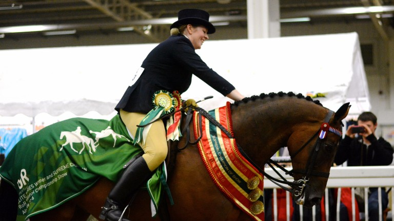 Rebecca Court and Beware Chalk Pit after the former racehorse's 2016 triumph as Supreme Champion