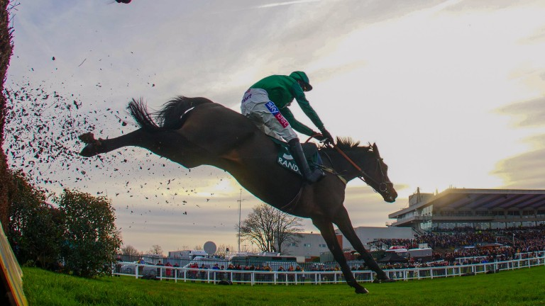 Sceau Royal soars over a fence en route to Sandown glory