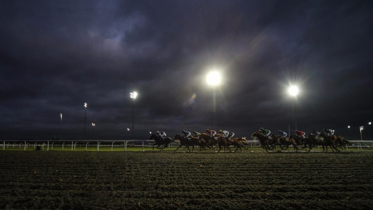 Racing takes place under lights at Kempton on Wednesday