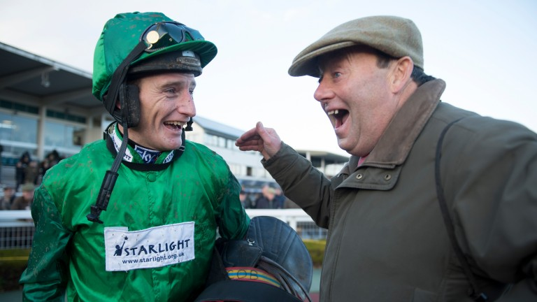 All smiles: Daryl Jacob and Nicky Henderson are in great spirits after Top Notch's success